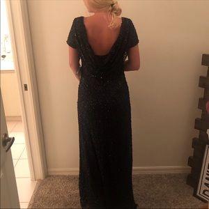 NWT Adrianna Papell navy draped sequin dress sz 12